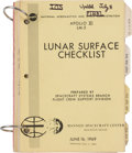"Explorers:Space Exploration, Apollo 11 Training-Used: NASA ""Apollo XI LM-5 Lunar Surface Checklist"" June 20, 1969-dated Book, Updated as of July 10, Direct..."