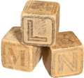 Explorers:Space Exploration, Neil Armstrong's Original Wooden Baby Alphabet Blocks (Three) Directly from the Collection of His Niece Ellen. ... (Total: 3 )