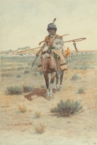 Olaf Carl Seltzer (American, 1877-1957) Scouts Watercolor on paper 10 x 6-1/2 inches (25.4 x 16.5