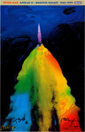 """Explorers:Space Exploration, Buzz Aldrin and Peter Max Signed """"Apollo 11 - Booster Rocket 1969/1999"""" Print, Originally from Aldrin's Personal Collection...."""