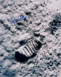 Explorers:Space Exploration, Buzz Aldrin Signed Large Apollo 11 Lunar Bootprint Photo Originally from His Personal Collection. ...