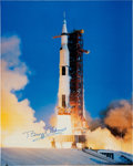 Explorers:Space Exploration, Buzz Aldrin Signed Large Apollo 11 Launch Color Photo Originally from His Personal Collection. ...