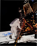 Explorers:Space Exploration, Buzz Aldrin Signed Large Apollo 11 Lunar Surface Color Photo Originally from His Personal Collection. ...