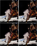 Explorers:Space Exploration, Buzz Aldrin Signed Large Apollo 11 Lunar Surface Color Photos (Four) Originally from His Personal Collection. ...