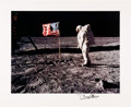 Explorers:Space Exploration, Buzz Aldrin Signed Large Apollo 11 Lunar Surface American Flag Photo Originally from His Personal Collection....
