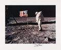 Explorers:Space Exploration, Buzz Aldrin Signed Large Apollo 11 Lunar Surface American Flag Photo Originally from His Personal Collection. ...