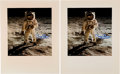 """Explorers:Space Exploration, Buzz Aldrin Signed Large Apollo 11 Lunar Surface """"Visor"""" Color Photos (Two) Originally from His Personal Collection. ..."""