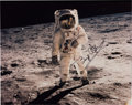 """Explorers:Space Exploration, Buzz Aldrin Signed Large Apollo 11 Lunar Surface """"Visor"""" Color Photo Originally from His Personal Collection. ..."""