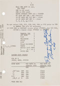 "Explorers:Space Exploration, Apollo 12 Flown CSM-108 ""Launch Operations Checklist"" Page Directly from the Family Collection of Mission Command Modu..."