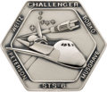Explorers:Space Exploration, Space Shuttle Challenger (STS-6) Flown Silver Robbins Medallion, Serial Number 49F, Directly from the Personal Col...
