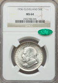 Commemorative Silver, 1936 50C Cleveland MS64 NGC. CAC. NGC Census: (1799/2647). PCGS Population: (3075/3213). CDN: $100 Whsle. Bid for problem-f...