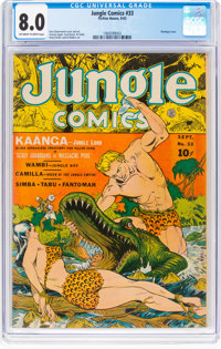 Jungle Comics #33 (Fiction House, 1942) CGC VF 8.0 Off-white to white pages