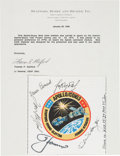 Explorers:Space Exploration, Apollo-Soyuz Test Project Crew-Signed Flown Beta Cloth Mission Insignia Patch Originally from the Personal Collection of M...