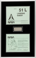 Explorers:Space Exploration, Space Shuttle Challenger (STS-51-L) Original Landing Guest Parking Pass in Framed Display. ...