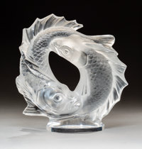 Lalique Clear and Frosted Glass Deux Poissons Post-1945. Engraved Lalique, France