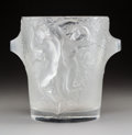 Glass, Lalique Frosted Glass Ganymede Wine Cooler. Post-1945. Engraved Lalique, France. Ht. 9 in.. ...