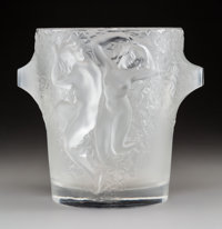 Lalique Frosted Glass Ganymede Wine Cooler Post-1945. Engraved Lalique, France