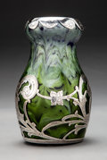 Glass, Loetz Glass Titania Vase with La Pierre Silver Overlay. Circa 1905. Silver overlay stamped L, STERLING. . Ht...