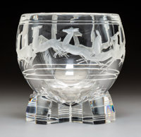 Steuben Glass Gazelle Bowl in Original Fitted Box Designed 1935 by Sidney Waugh