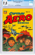 Golden Age (1938-1955):War, Captain Aero Comics #21 (Holyoke Publications, 1944) CGC VF- 7.5 White pages....