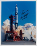 Explorers:Space Exploration, Gemini Program: Launch Color Photo Signed by Gordon Cooper, Tom Stafford, and Buzz Aldrin. ...