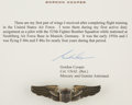Explorers:Space Exploration, Gordon Cooper's First Pair of Air Force Wings Originally from His Personal Collection, with Signed Letter of Authenticity. ...