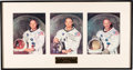 Explorers:Space Exploration, Apollo 11: Matching Individually-Signed Crew White Spacesuit Color Photos in Handsome Framed Display. ...