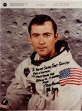 Explorers:Space Exploration, John Young Signed White Spacesuit NASA Color Photo with Apollo 10-related Inscription. ...