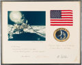 Explorers:Space Exploration, Apollo 14 Flown American Flag and Mission Patch on Crew-Signed Presentation Mat to Attorney Paul Sawyer, in Framed Display. ...