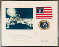 Apollo 14 Flown American Flag and Mission Patch on Crew-Signed Presentation Mat to Attorney Paul Sawyer, in Framed Displ...