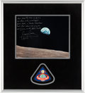 """Explorers:Space Exploration, James Lovell Signed Apollo 8 """"Earthrise"""" Color Photo with Lengthy Christmas Quote with Novaspace Certificate of Authenticity, ..."""