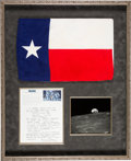Explorers:Space Exploration, Apollo 12 Flown Largest Size Texas Flag Originally from the Personal Collection of Mission Lunar Module Pilot Alan Bean, Signe...