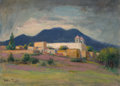 Texas:Early Texas Art - Impressionists, Rolla Sims Taylor (American, 1872-1970). Mission in theHills. Oil on canvasboard. 10 x 13-5/8 inches (25.4 x 34.6 cm)....