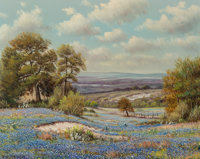 William Robert Thrasher (American, 1908-1997) Bluebonnets and Cacti Oil on canvas 16 x 20 inches