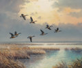 Fine Art - Painting, American, J.W. Thrasher (American, b. 1940). Ducks Flight (two works).Oil on canvas, each. 20 x 24 inches (50.8 x 61.0 cm) (each)...(Total: 2 )