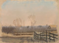 Fine Art - Work on Paper, Frank Reaugh (American, 1860-1945). Sketch -- Fence. Pastelon paper. 5 x 6-1/2 inches (12.7 x 16.5 ...