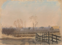 Frank Reaugh (American, 1860-1945) Sketch -- Fence Pastel on paper 5 x 6-1/2 inches (12.7 x 16.5