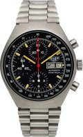 Timepieces:Wristwatch, Heuer, Rare Ref. 750.503N Montreal Convex-Case Chronograph, Stainless Steel, Automatic, Circa 1980. ...