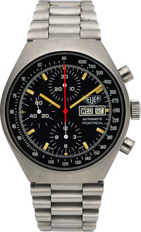 Heuer, Rare Ref. 750.503N Montreal Convex-Case Chronograph, Stainless Steel, Automatic, Circa 1980