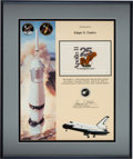 Explorers:Space Exploration, Space Shuttle Columbia (STS-65) Flown Apollo 11 Anniversary Flag on Presentation Certificate, in Framed Display....