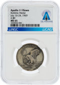 Explorers:Space Exploration, Apollo 11 Flown MS65 NGC Sterling Silver Robbins Medallion, Serial Number 80, Directly From The Armstrong Family Collection™, ...