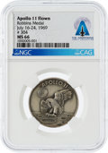 Explorers:Space Exploration, Apollo 11 Flown MS66 NGC Sterling Silver Robbins Medallion, Serial Number 304, Directly From The Armstrong Family Collection™,...