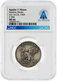 Apollo 11 Flown MS66 NGC Sterling Silver Robbins Medallion, Serial Number 304, Directly From The Armstrong Family Collec...