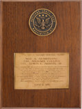 Explorers:Space Exploration, Neil Armstrong's Robert H. Goddard's Memorial Trophy Plaque Directly From The Armstrong Family Collection™, CAG Certified....