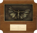 """Explorers:Space Exploration, Neil Armstrong's International Aerospace Hall of Fame 1971 """"Distinguished Aerospace Achievement"""" Plaque Directly From The Arms..."""