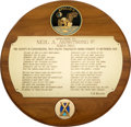 Explorers:Space Exploration, Neil Armstrong's Society of Experimental Test Pilots 1969 Awards Banquet Plaque Directly From The Armstrong Family Collect...