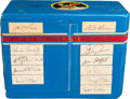 Explorers:Space Exploration, Apollo 11: Lunar Module Flight Crew Notions Box Signed by the Apollo 11 Crew and Eight Others During Lunar Module Mission Simu...