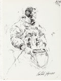Explorers:Space Exploration, Neil Armstrong: Paul Calle Original Signed and Dated Pen and Ink Sketch Drawn on the Morning of the Apollo 11 Launch While wit...