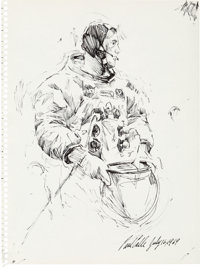 Neil Armstrong: Paul Calle Original Signed and Dated Pen and Ink Sketch Drawn on the Morning of the Apollo 11 Launch Whi...