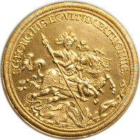 """Hungary: """"St. George"""" gold Medallic Multiple Ducat ND (19th-20th Century) Choice UNC (light surface hairlines)..."""